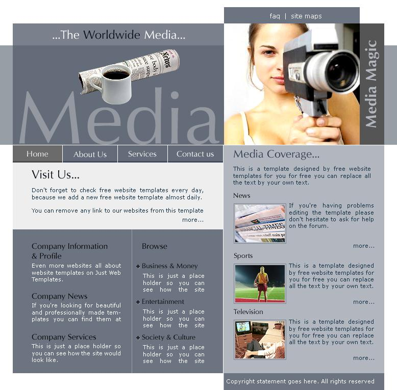 HTML template for news website